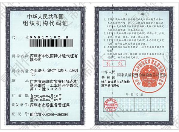 华悦国际组织机构代码证
